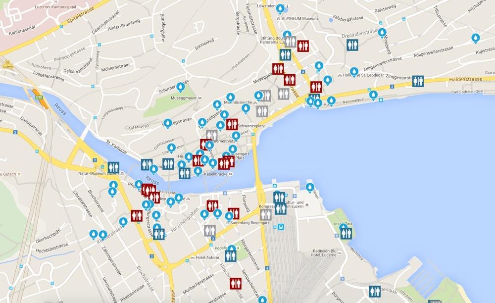 Nur ein Teil der rund 225 Brunnen in der Stadt Luzern: Kartenausschnitt aus der neuen Brunnen-App.