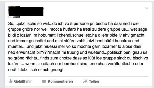 Der Eintrag auf Facebook von Susi Sauer war nur wenige Stunden online.