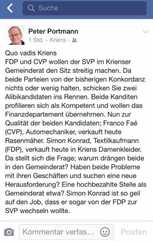 Ziemlich heftig kritisiert der SVP-Parteipräsident  die beiden Gegenkandidaten auf Facebook (Bild: facebook).