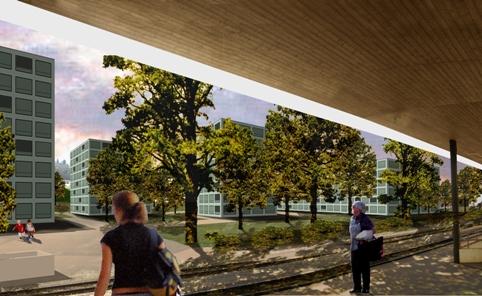 Sicht vom Horwer Bahnhof auf die neue Überbauung Horw Mitte.