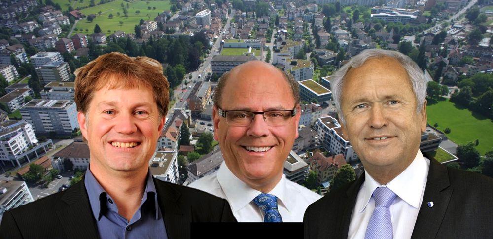Nach der Wahl von Paul Winiker (SVP, rechts) in den Regierungsrat möchten seine Gemeinderatskollegen Matthias Senn (FDP, Mitte) und Cyrill Wiget (Grüne) Winiker als Gemeindepräsident beerben.