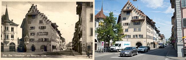 Das Grosshaus mit der Neugasse – damals und heute. (Bild: Annette Iten)