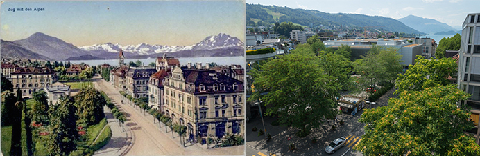 Zug und die Alpen – damals und heute. (Bild: Annette Iten)