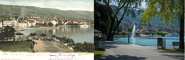 Zug am See – damals und heute. (Bild: Annette Iten)