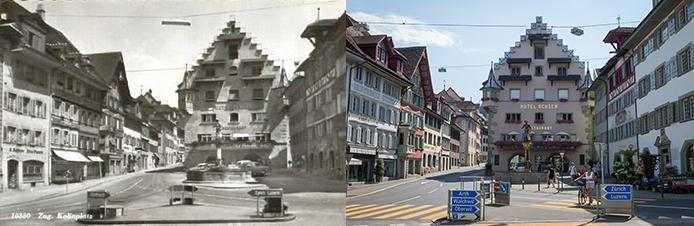 Der Kolinplatz – damals und heute. (Bild: Annette Iten)