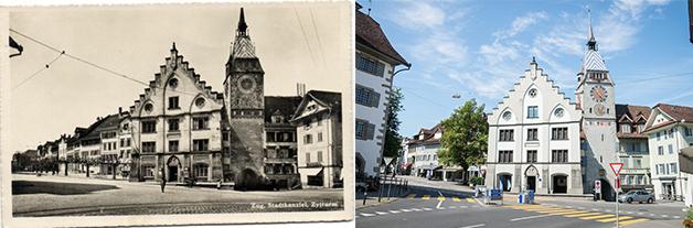 Die Stadtkanzlei mit dem Zytturm – damals und heute. (Bild: Annette Iten)