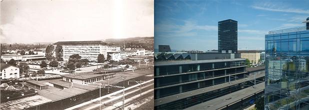 Der Bahnhof Zug – damals und heute. (Bild: Annette Iten)