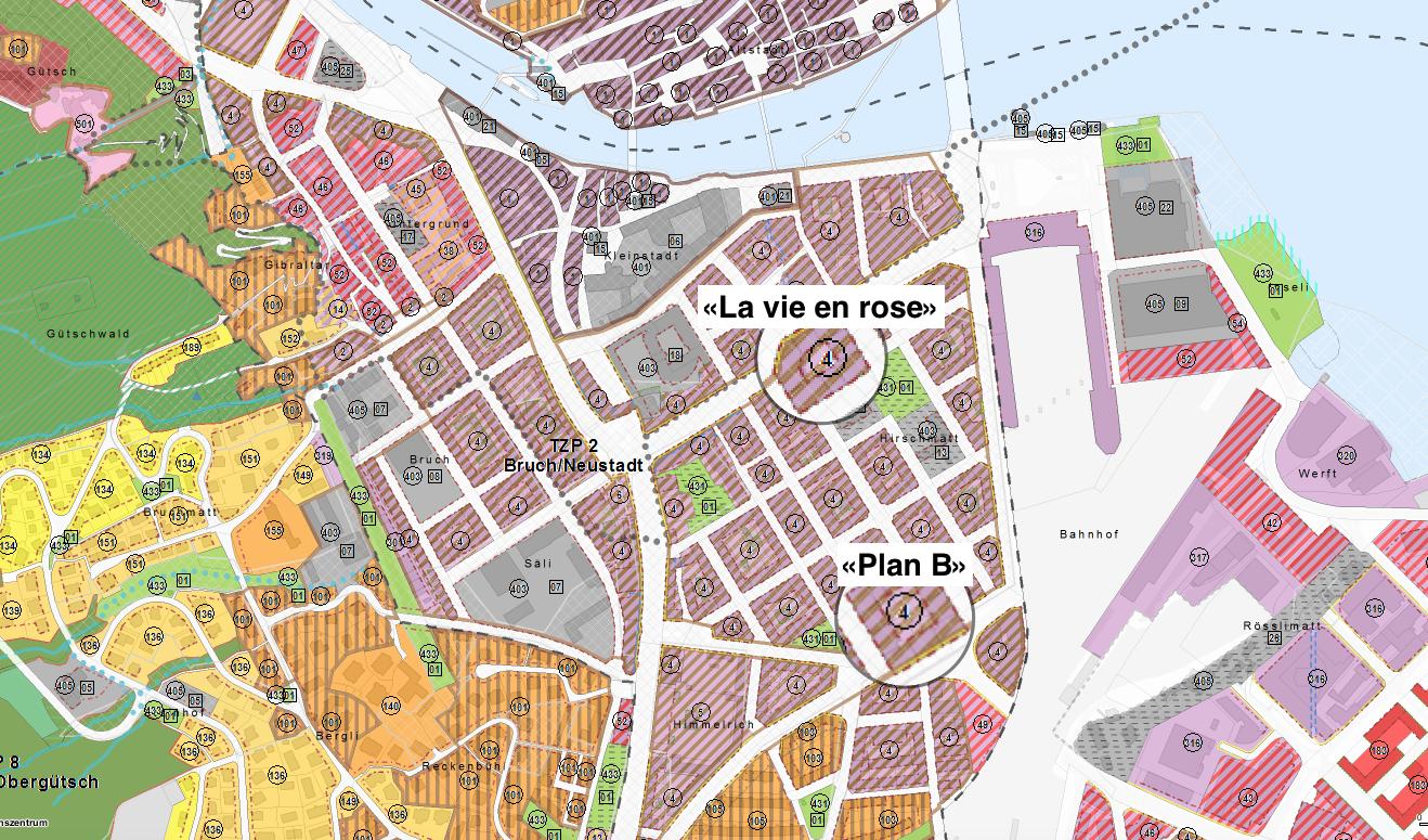 Befinden sich beide in der Schutzzone B: Das Bachmann-Café «La vie en rose» und die Sport-Bar «Plan B».