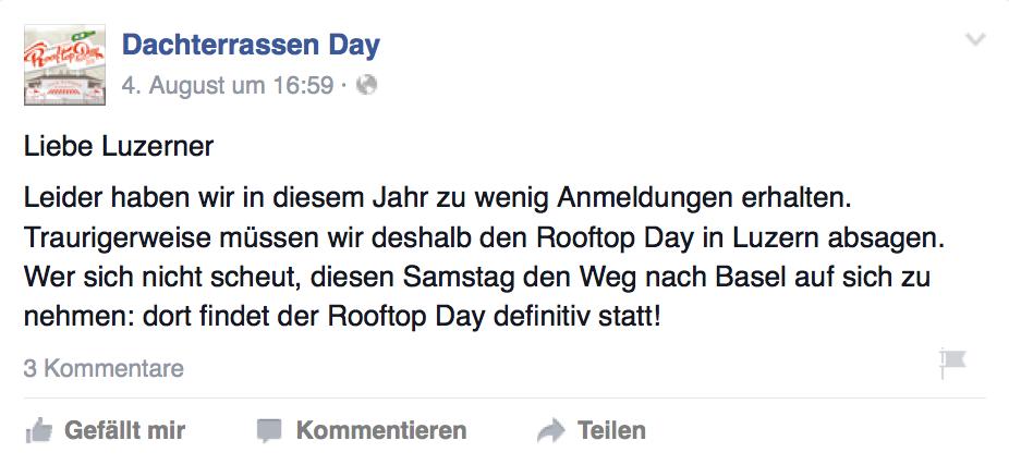 Auf der Facebook-Veranstaltungsseite wurde publiziert, dass die Veranstaltung dieses Jahr nicht stattfinden könne.