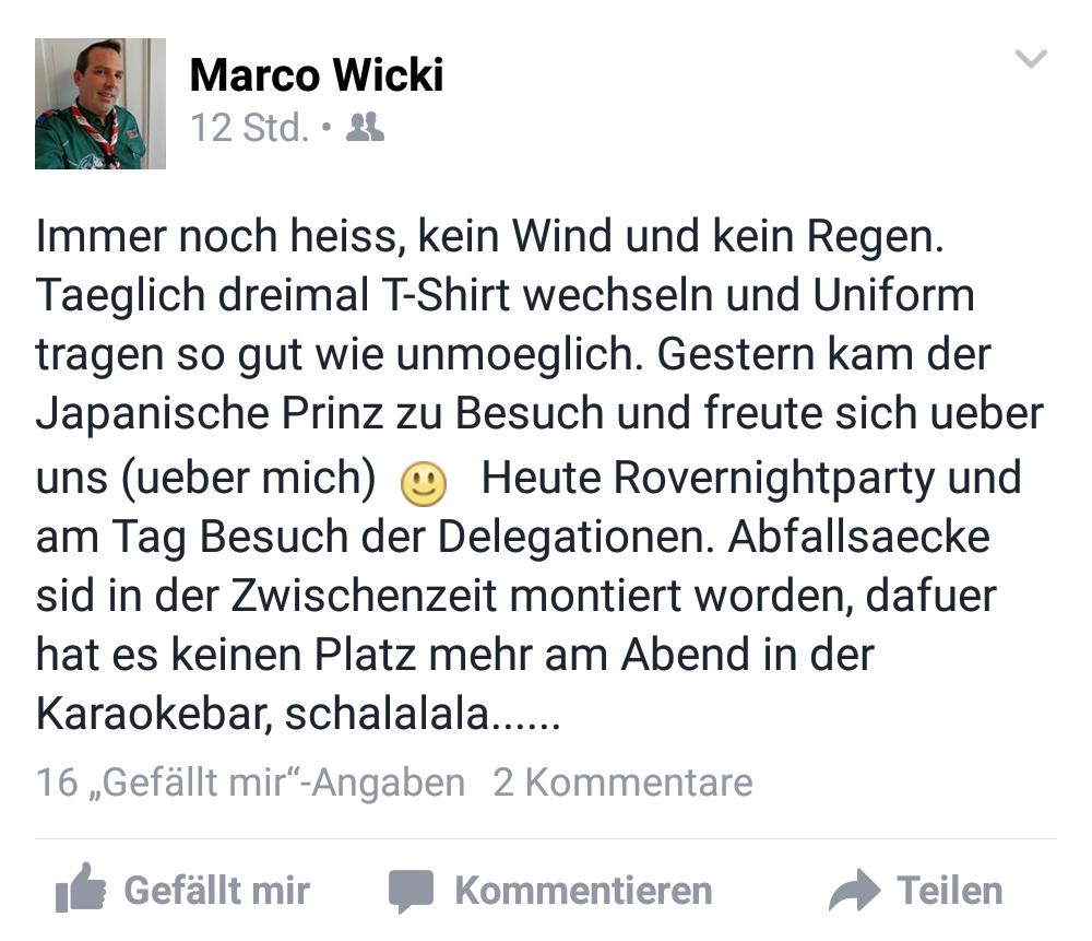 Auf Facebook jammert Wicki über die Hitze. Uniformtragen sei so gut wie unmöglich. Aber für Wicki natürlich dennoch Pflicht.