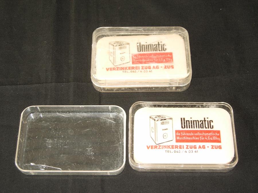 Werbeseifen für das Nachfolgemodell, die vollautomatische Unimatic, um 1950.