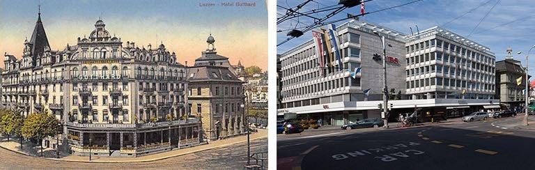 Wo heute die UBS ist, stand früher das Hotel Gotthard. (Neuaufnahme: Marc Hodel)