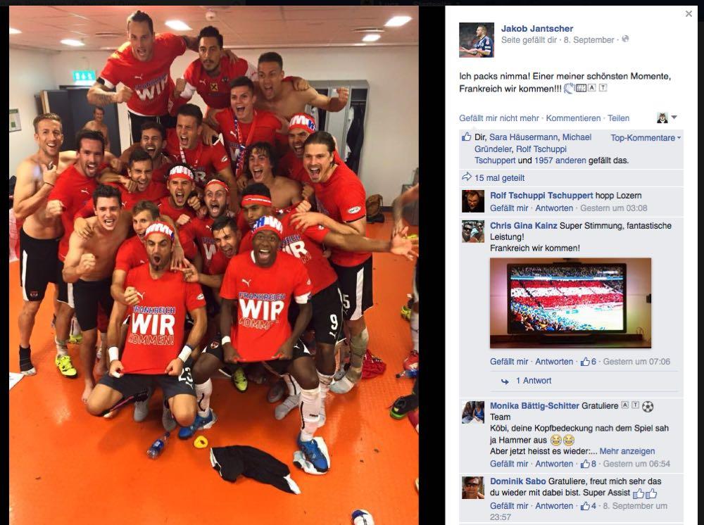 Nach dem Sieg gegen Schweden: Feierlaune bis zum Umfallen auf Jakob Jantschers Facebook-Seite.
