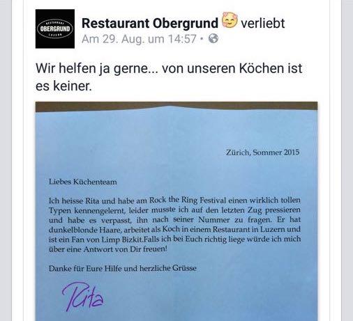 Diesen Brief hat Rita einigen Restaurants in Luzern geschrieben. Und das «Obergrund» hat ihn auch prompt auf Facebook gestellt.