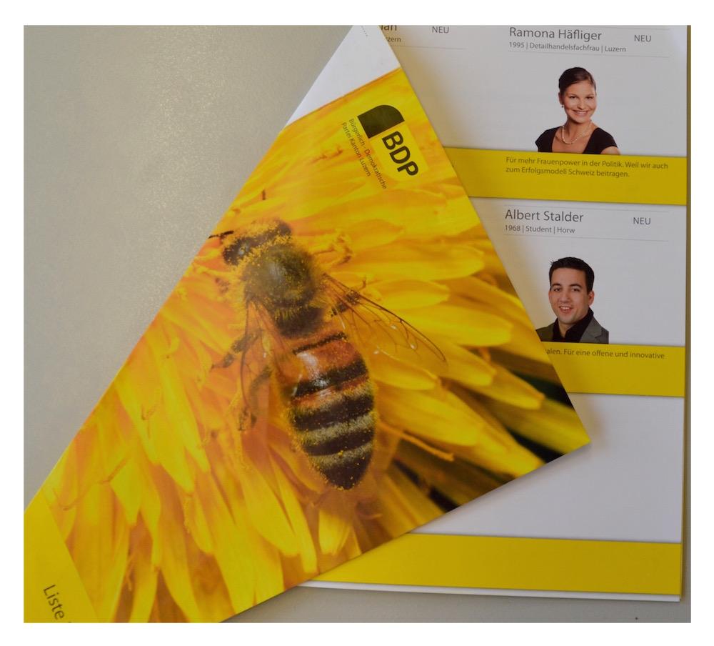 Tierisch wird es bei der BDP. Eine Biene ziert die Frontseite. Im Innern enttäuschen Optik sowie der grosse Leerraum