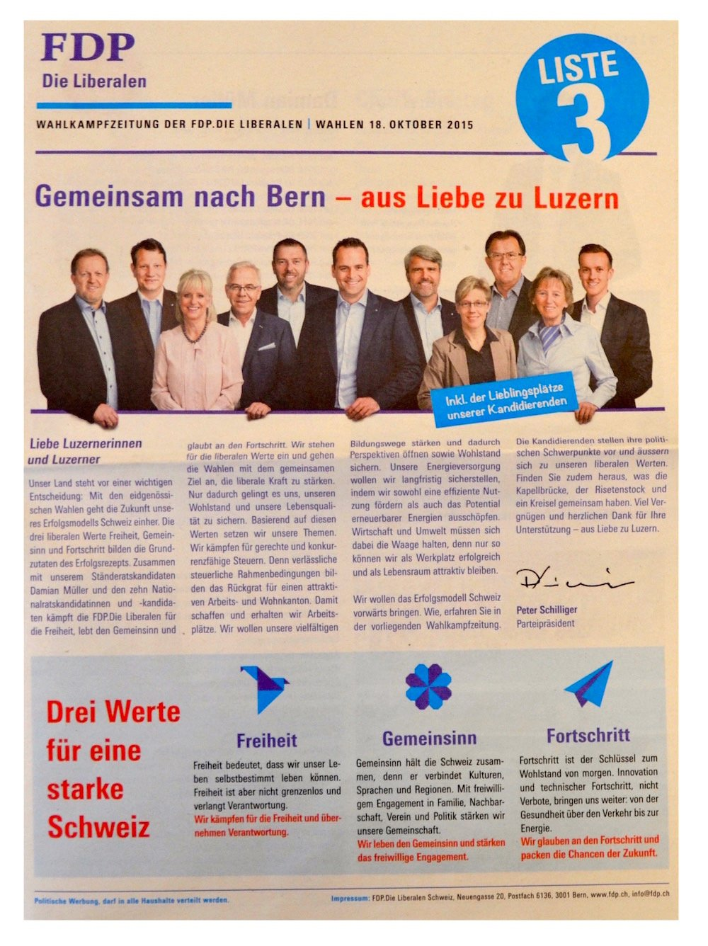 Ebenfalls eine ganze Wahlzeitung präsentiert die FDP. Statt auf Themen setzt sie auf Köpfe, was die Texter kritisch beäugen.