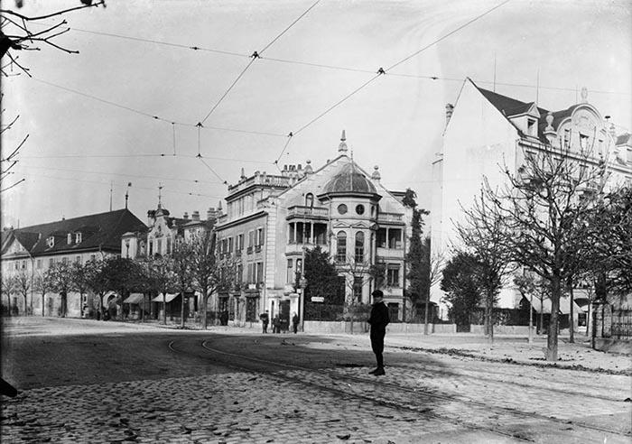 Interessanter Blick zurück auf den Pilatusplatz samt «Schmitte» im Jahr 1910: Hier soll ab 2020 ein Hochhaus entstehen.
