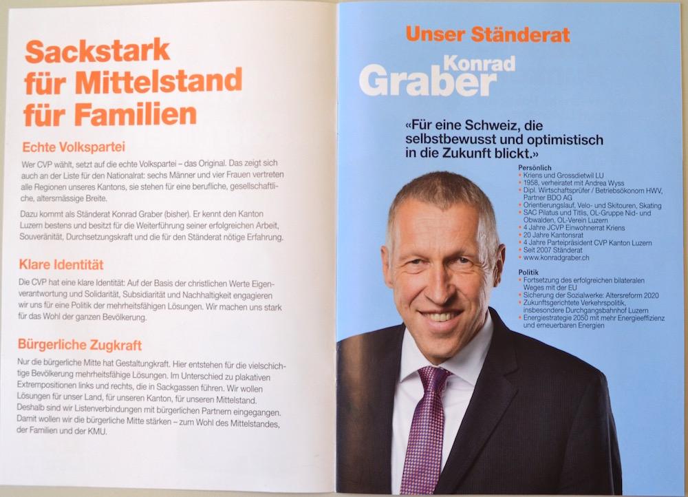 Komplimente erhält die CVP für das gute Foto ihres Ständerates Konrad Graber.
