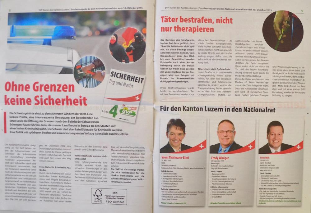Im Inneren des SVPKurier wird auf die Themen der Titelseite Bezug genommen. Die Kandidaten werden in Steckbriefen vorgestellt.