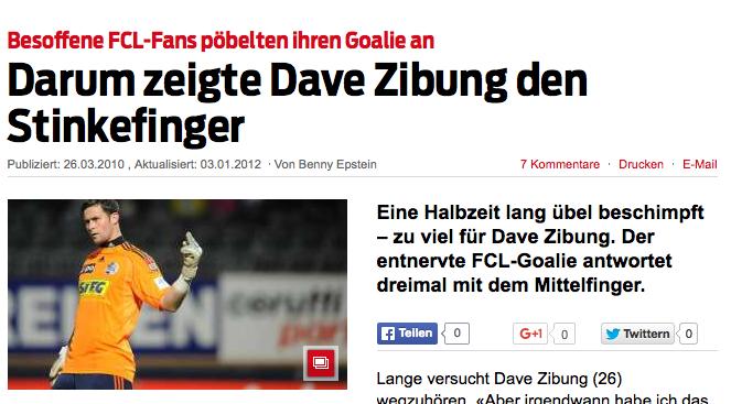 Zibungs rüpelhafter Fingerzeig in Richtung Fans sorgte medial für grosse Schlagzeilen (Printscreen: blick.ch).