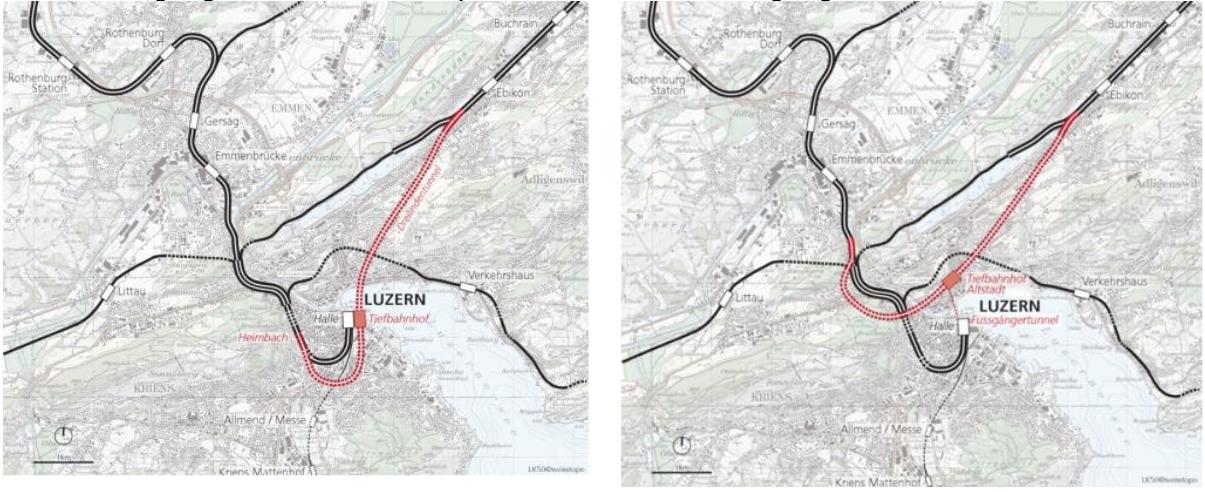 Links: Die «beste» Variante D1. Rechts: Eine der geprüften Varianten D4 mit Durchgangsbahnhof unterhalb der Altstadt (rechts).