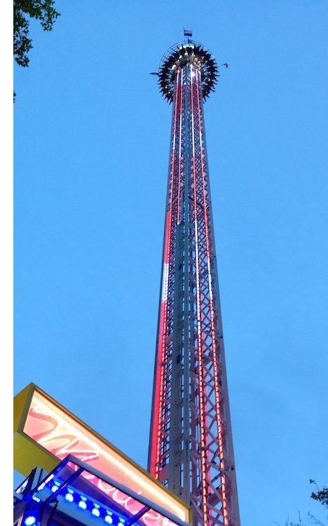 Der Swiss Tower. Freier Fall aus 80 Metern.