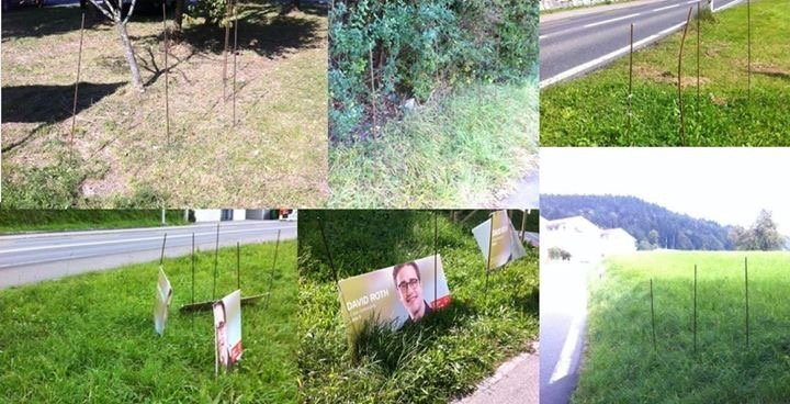 Insgesamt wurden 35 Plakate des SP-Kandidaten David Roth beschädigt oder entfernt. (Bild: Facebook)