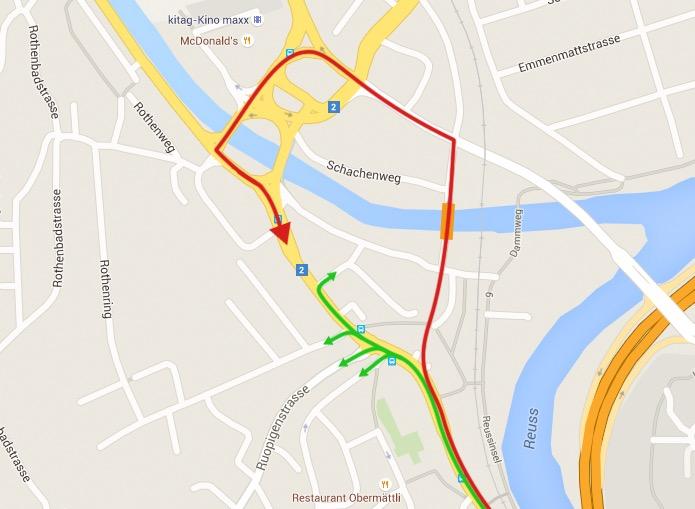 Die neue Verbindung nach Reissbühl (rot) führt über Emmenbrücke. (Bild: Thorsten Kreuger)