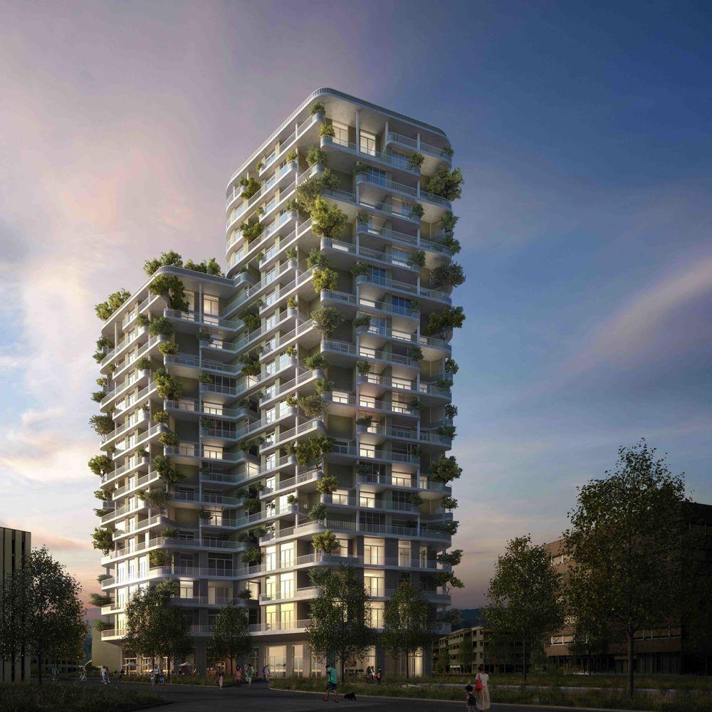 Visualisierung des geplanten «grünen» Hochhauses mit der Adresse Suurstoffi 37. Den Auftrag hat das Architekturbüro Ramser Schmid aus Zürich erhalten.