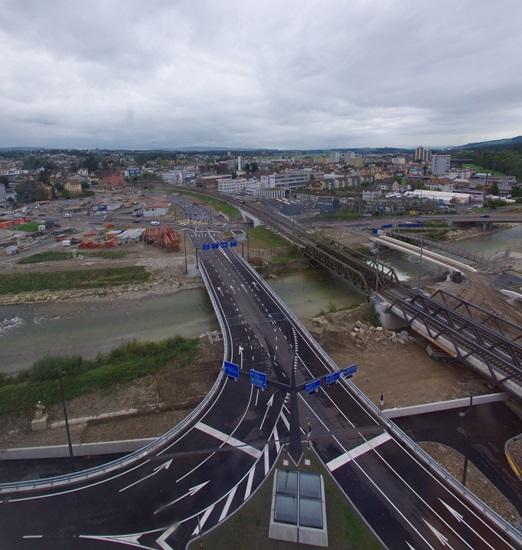 Und das ist sie, die neue Reussbühlbrücke. (Bild: Kanton Luzern)
