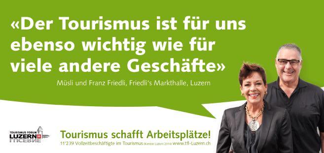 Eines der Plakate der neuen Kampagne des Tourismus Forum Luzern. (Bild: Tourismus Forum Luzern)