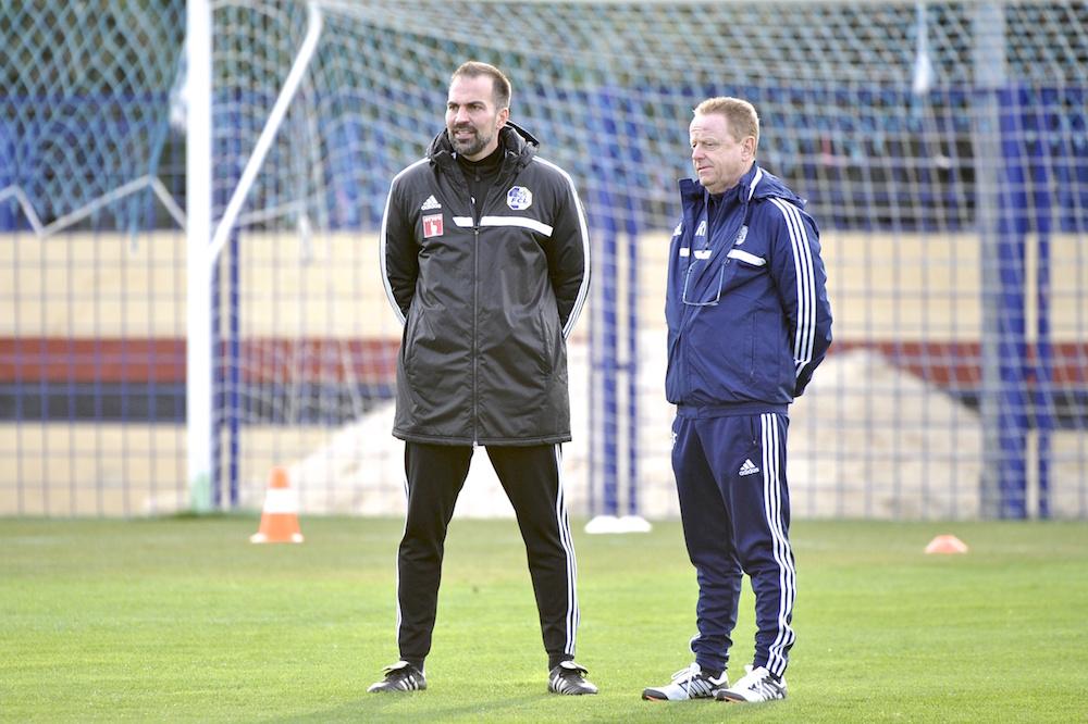 FCL-Sportchef Rolf Fringer gemeinsam mit Trainer Markus Babbel. «Was ich als Trainer nicht mochte, mache ich als Sportchef nicht», so Fringer (Bild: Martin Meienberger).