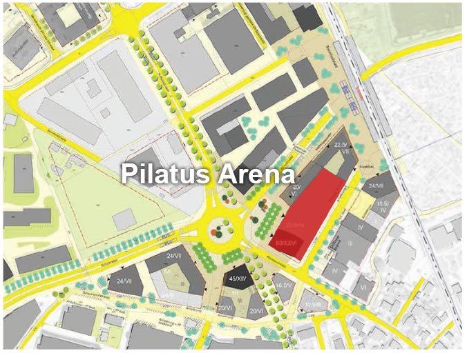 Auf dem rot eingefärbten Areal würde die Pilatus Arena entstehen. Das 80-Meter-Hochhaus könnte auf diesem Areal unten, zum Kreisel hin entstehen.
