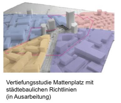 Der grösste der in diesem Modell abgebildeten Klötze wäre das 80-Meter-Hochhaus. Die anderen auf diesem Modell ersichtlichen Hochhäuser sind noch nicht konkret geplant.