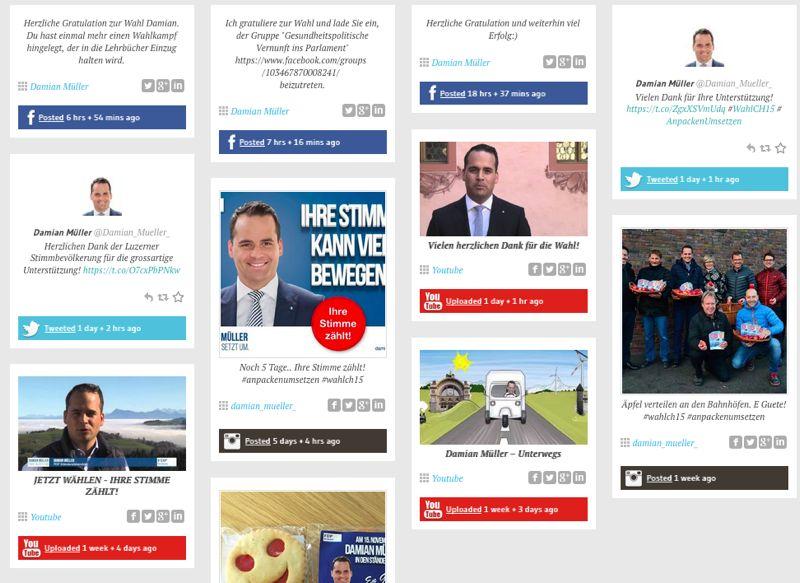 Auf Müllers Webseite sind verschiedene Social-Media-Kanäle eingebettet.