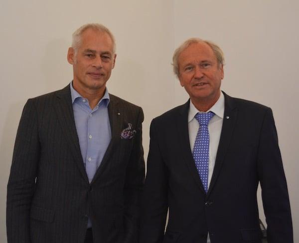 FCL-Präsident Ruedi Stäger und Regierungsrat Paul Winiker streben eine Senkung der Sicherheitskosten an.