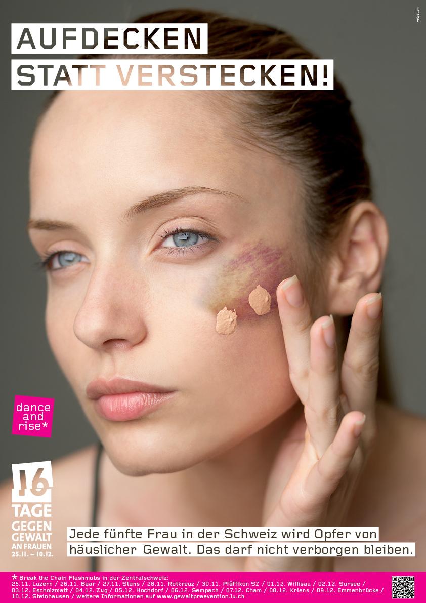 Mit diesem Flyer macht die Kampagne «16 Tage gegen Gewalt an Frauen» auf sich aufmerksam.