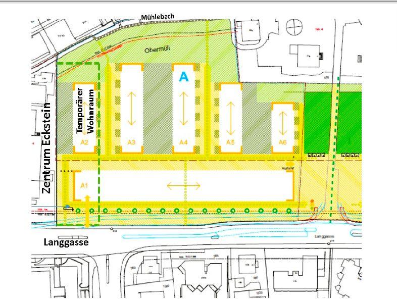 Der Lageplan, den die Firma Hotz Obermühle AG am 23. November den Nachbarn samt einem Brief geschickt hat: Die Asylunterkunft soll links auf dem Grundstück zu stehen kommen und aus einem dreistöckigen temporären Gebäude mit 17 Wohnungen für 100 Personen b