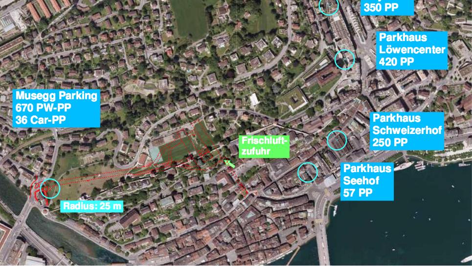 Die Ansicht zeigt das geplante unterirdische Parkhaus Musegg und weitere bestehende Parkhäuser in der Umgebung.