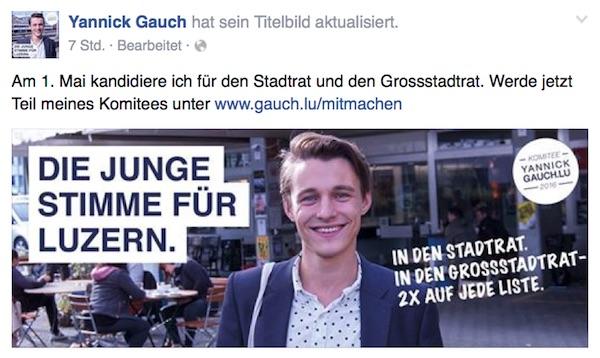 Via Facebook gibt Yannick Gauch bekannt, dass er für den Stadtrat kandidieren möchte.
