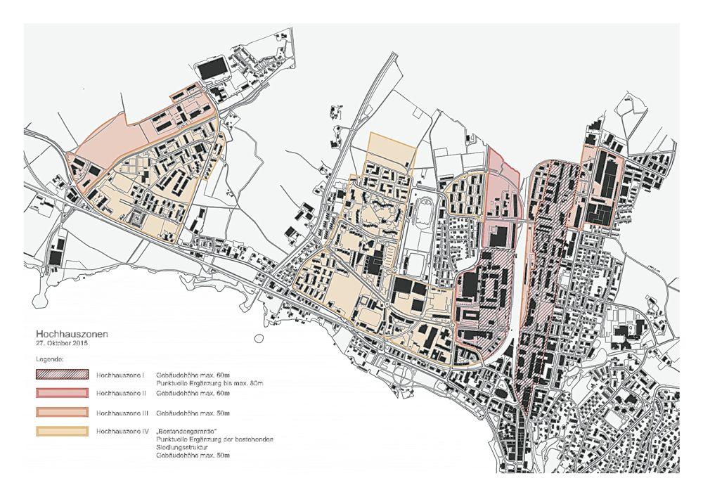 Die vier Hochhauszonen der Stadt Zug: Im Zentrum, entlang der Baarerstrasse und im östlichen Siemens-Areal sind Häuser bis 60 und ausnahmsweise bis 80 Meter möglich.