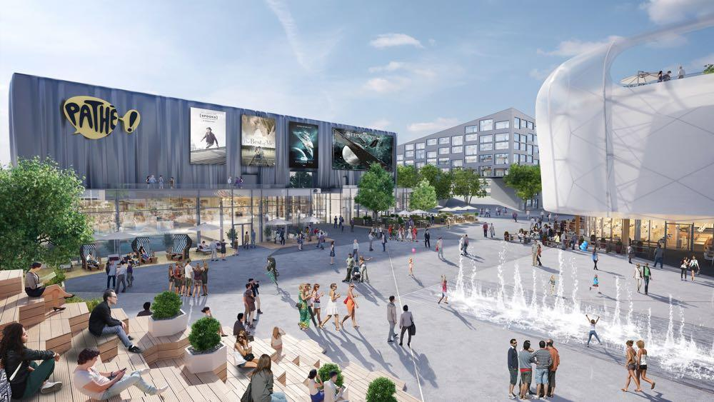 Diese Visualisierung zeigt, wie es im Shoppingcenter dereinst aussehen wird: rechts die Mall, links der Freizeitkomplex und hinten die Wohnungen.