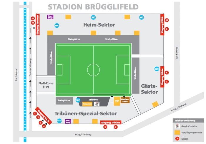 Der Gästesektor im Stadion Brügglifeld bietet Platz für 800 Fans (Bild: FC Aarau).