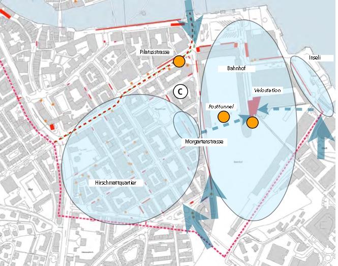 Im Neustadt-/Hirschmattquartier und rund um den Bahnhof sollen an vielen dezentralen Punkten (gelb eingezeichnet) zusätzliche Veloparkplätze entstehen. Die gelben Punkte stehen für mögliche grosse neue Veloanlagen. Die blauen Pfeile zeigen an, wo die Zufa