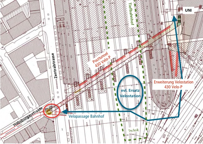 Im erst noch zu realisierenden Projekt Posttunnel (rot eingefärbt) könnten 430 Velos parkiert werden. Doch wenn der Tiefbahnhof kommt, evtl. ab 2031, müsste dem alles weichen. Dafür gäbs Ersatz (blau eingezeichnet).
