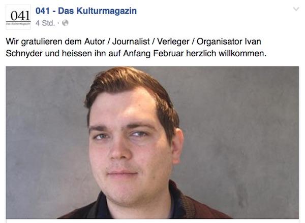 Auf Facebook teilt das Kulturmagazin seine Freude über den neuen Redaktionsleiter mit.