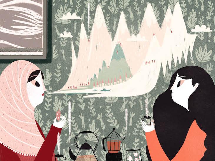 In Francesca Sannas Kinderbuch migriert eine Mutter mit ihren zwei Kindern.