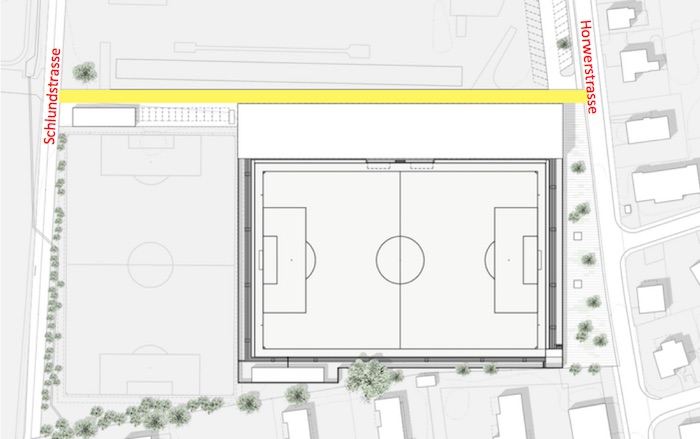 In Zukunft soll hinter dem Stadion ein Durchgang zwischen Horwerstrasse und Schlundstrasse entstehen (gelbe Markierung).