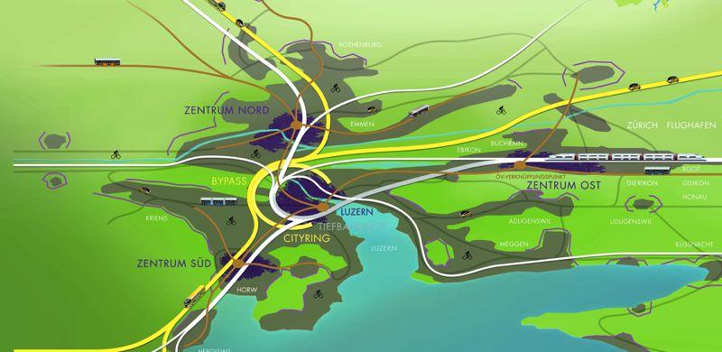 Der Cityring (gelb in der Mitte) und der Bypass (gelb aussen) sollen Stadt und Agglomeration entlasten.