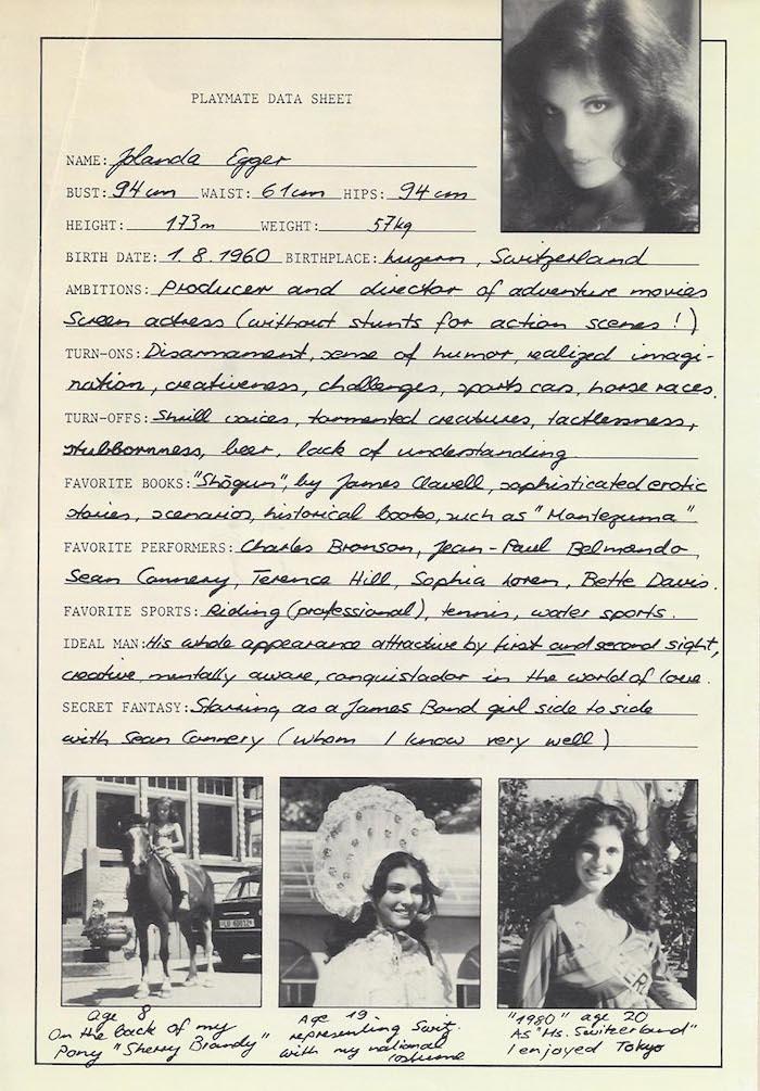 Das «Playmate data sheet» von Yolanda Risi-Egger. Besonders Sean Connery imponierte ihr.